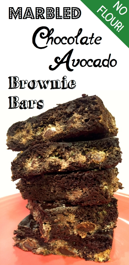 Healthy Marbled Chocolate Avocado Brownie Bars -- No flour!
