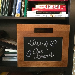 wooden chalkboard box