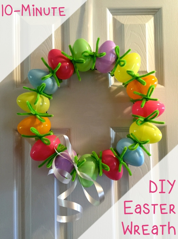10 Minute DIY Easter Egg Wreath - A craft so EASY anyone can make it!