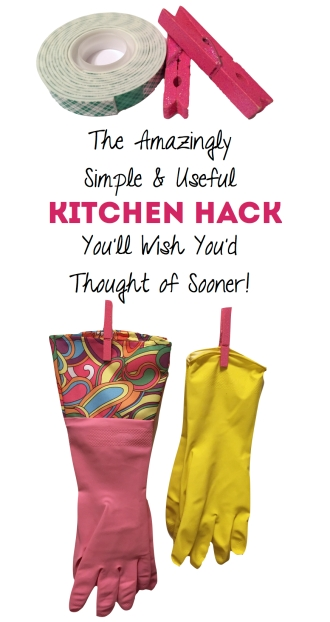 kitchen hack - clothespin glove hangers